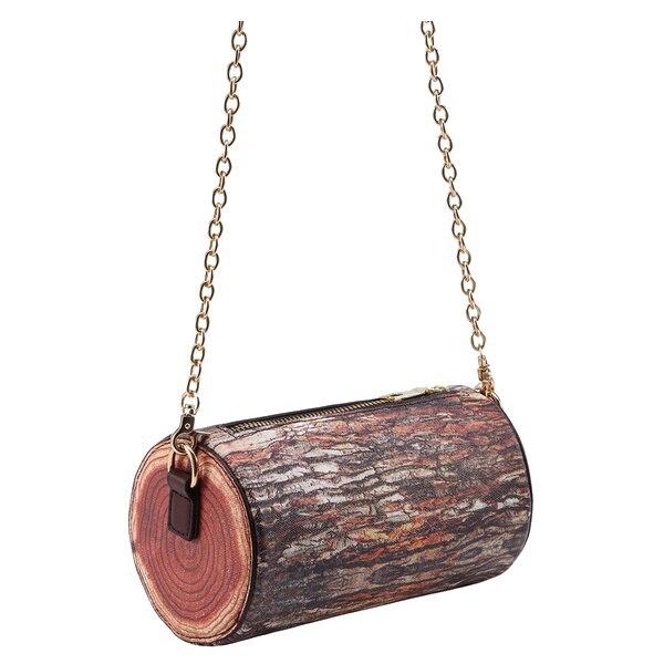 HEBA Chic Braun Baumstumpf Geformt Kette Tasche (Farbe: Braun Kreuz abschnitt) Lustige Kreative Mädchen Crossbody-tasche