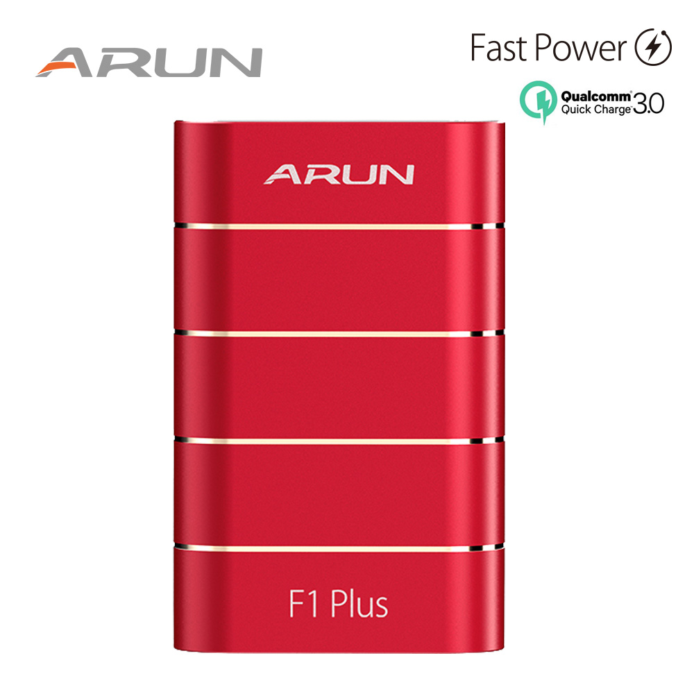 10000mah Power Bank ARUN F1 PLUS Original QC3.0 technology Dual USB ports Red Power Bank Chatging for Phones and Tablets