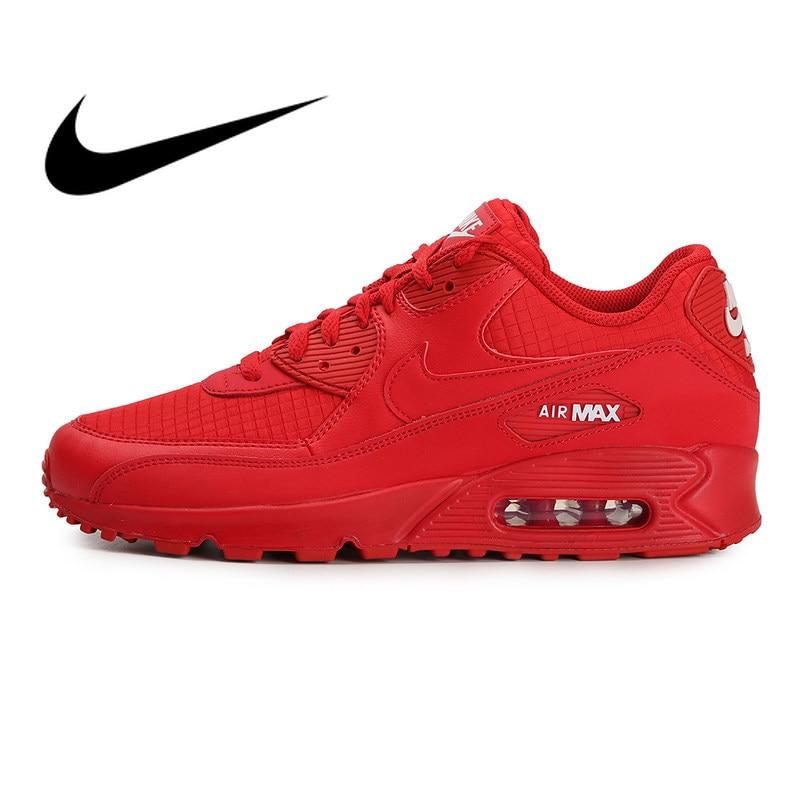 Original authentique NIKE AIR MAX 90 essentiel chaussures de course pour femmes tendance chaussures de sport de plein AIR mode rouge 2019 nouveau AJ1285