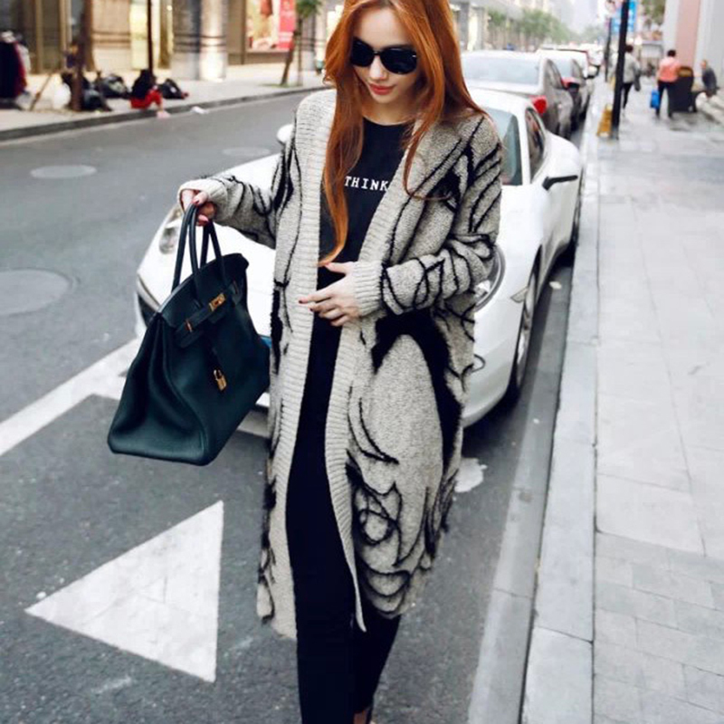 Fashionable Women Autumn Knitted Open Stitch Sweater Loose Leisure Cardigans Girl Pattern Elegant Jumper Sweate ...