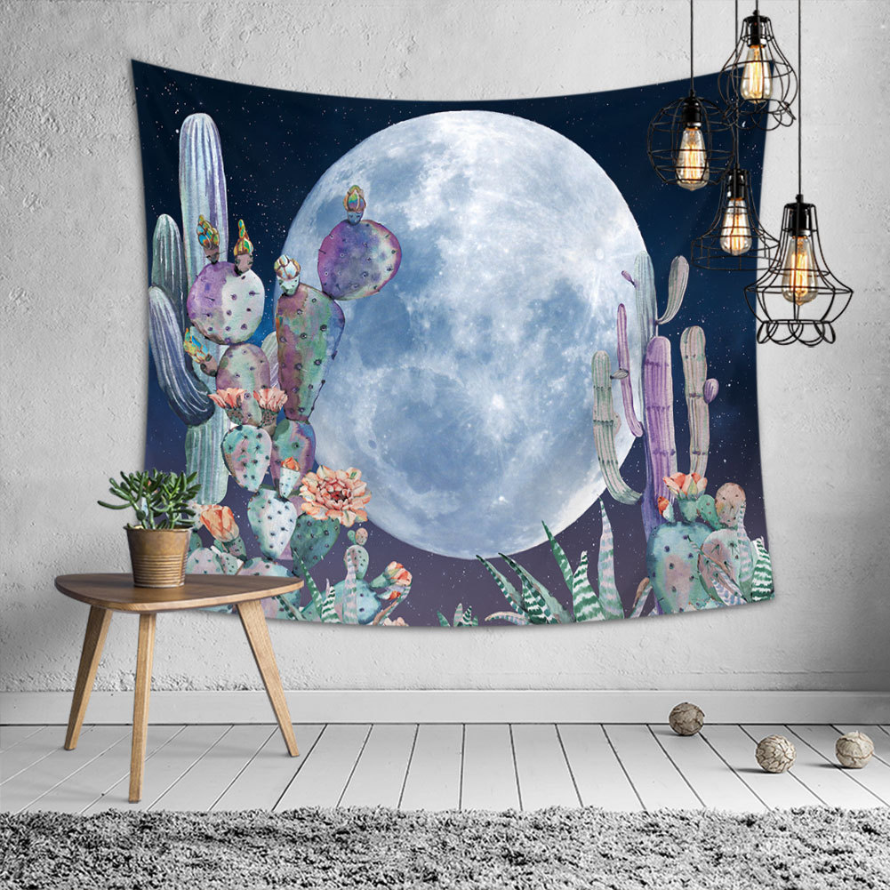 Cactus Moon Wall Tapestry Nature Art Landscape Hippie Mandala Fabric Hanging Watercolor Bedroom Carpet