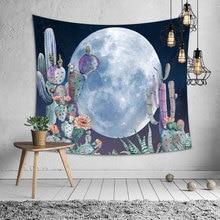 Cactus Moon Wall Tapestry Nature Art Landscape Hippie Mandala Fabric Hanging Watercolor Bedroom Carpet