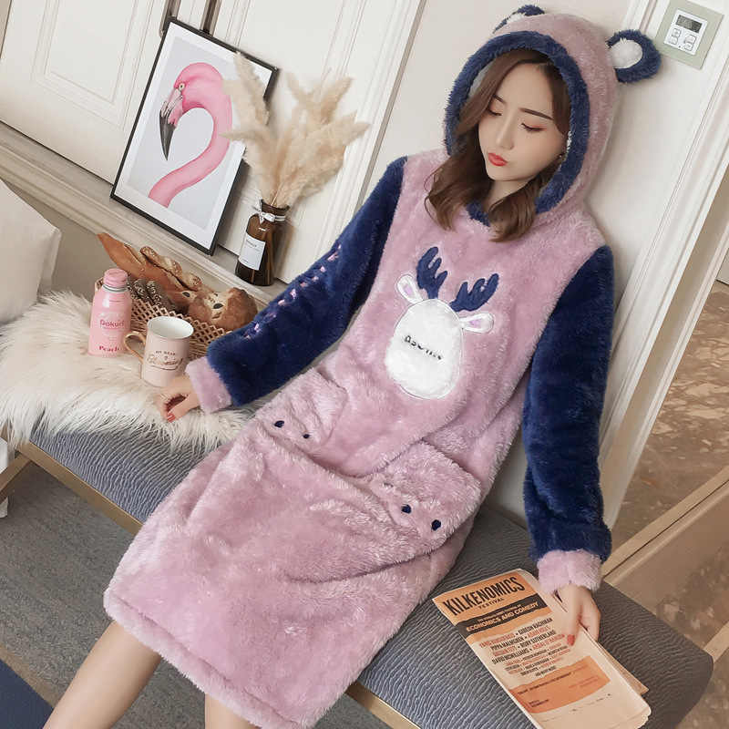85810041f0 Ladies Cartoon Nightgown Autumn Winter Home Dress Nightshirt Flannel Warm  Sleepwear Hoodie Long Sleeve Nightwear Sleep