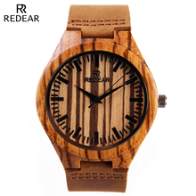 REDEAR Fashion Dress Wooden Watch Men Top Brand Luxury Men Quartz-Watches Mens Zebra Wood Watch Grain Leather Relogio Masculino