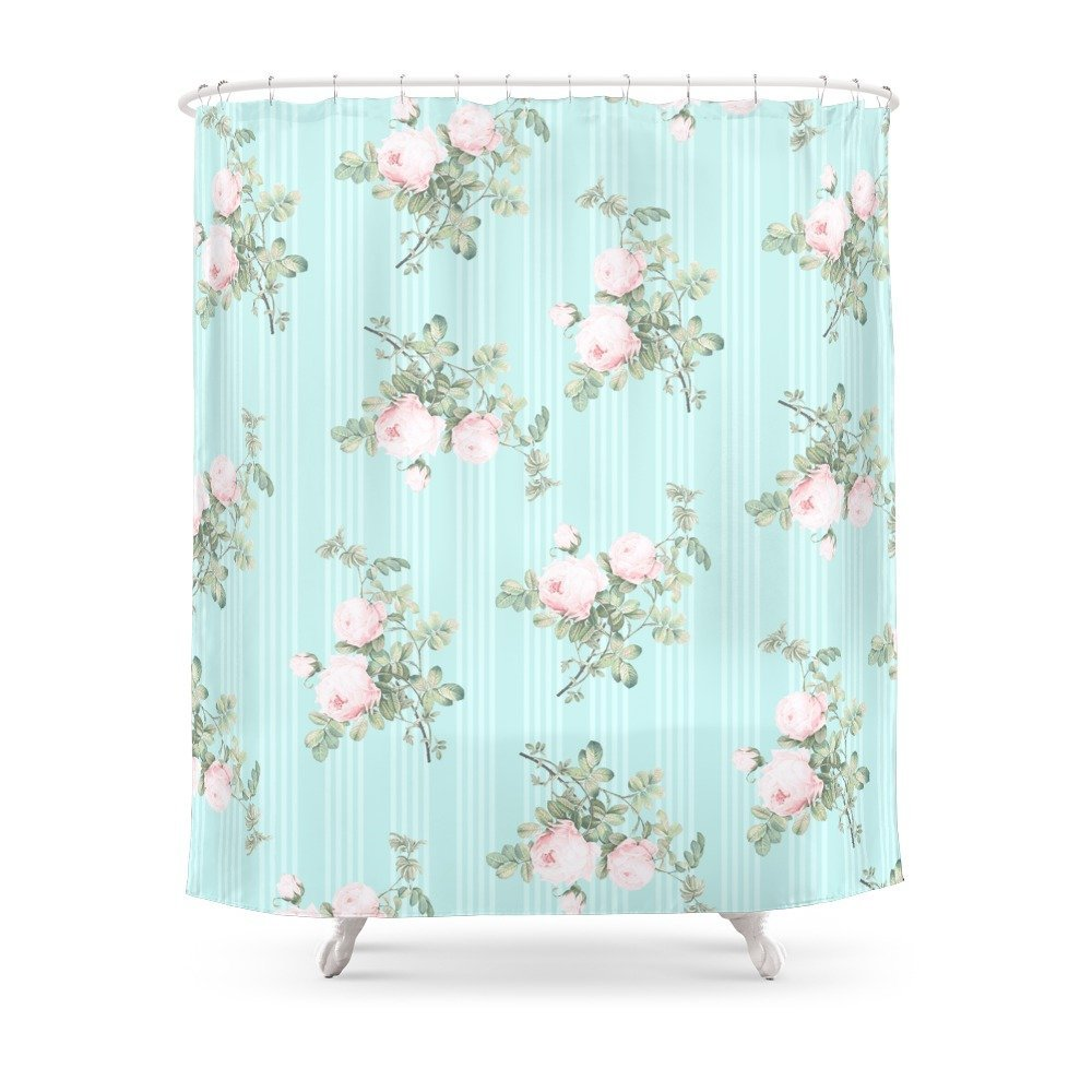 Shabby Chic Roses Pink And Mint Shower Curtain Polyester Fabric