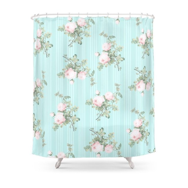 Shabby Chic Roses Pink And Mint Shower Curtain Polyester Fabric Bathroom Home Decoration Waterproof Print