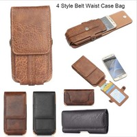4 Style TOP Quality Belt Waist Sports Bag Horizontal Vertical Mobile Phone Case Cover With Card