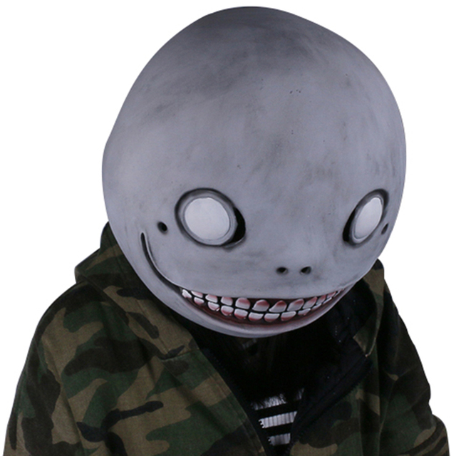 Coslive NieR Automata Emil Mask Gray Latex Mask Head Hood Mask for Halloween Cosplay Family Party Prop 1