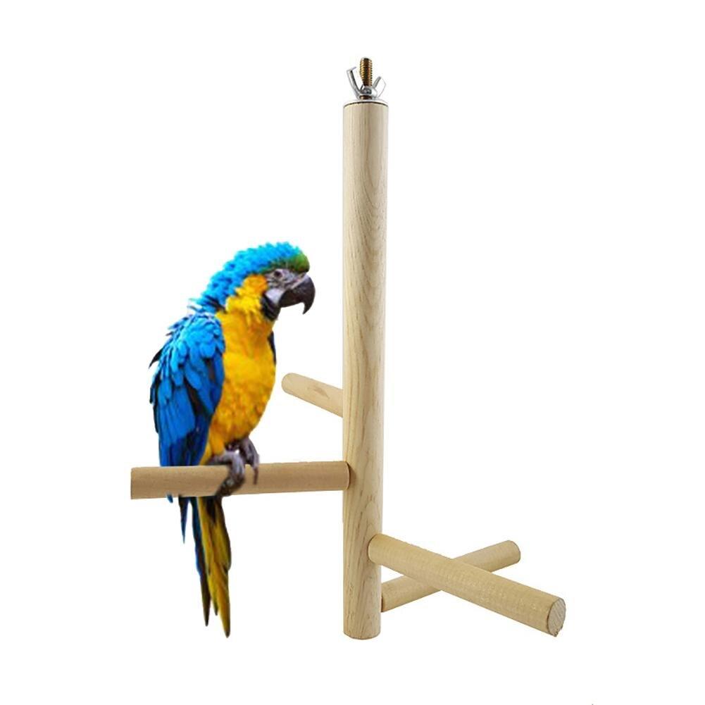 1 Stück Haustier Vogel Papagei 4 Bars Holz Rotierenden Sitzstangen Stehenden Leiter Rack Spielen Spielzeug