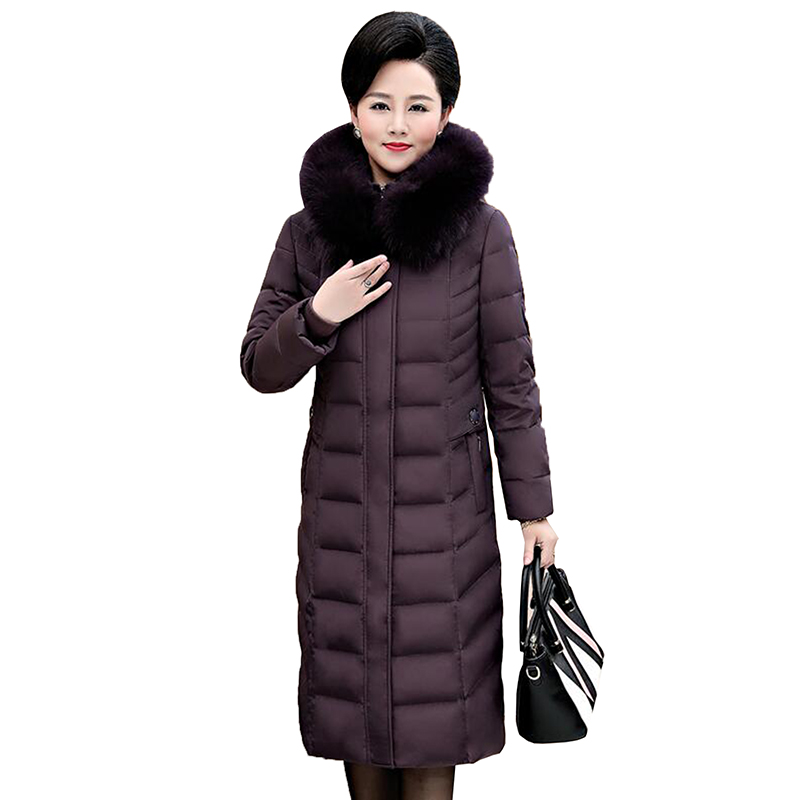 Middle-aged Mother 90% White Duck   Down   Winter   Down   Jacket 2018 New Women Elegant High Quality Long Thicken   Down     Coat   Plus Size