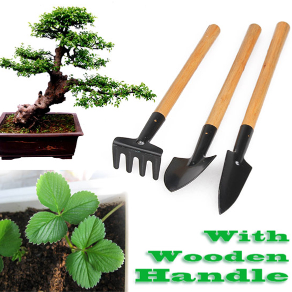 3pcs Mini Shovel Rake Garden Plant Tool Set With Wooden Handle Gardening Tool gardening tools rake shovel stainless steel telescopic retractable aluminum combination