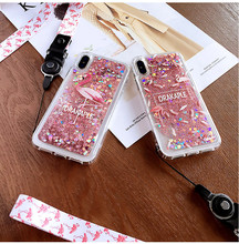 Hot Cute Flamingo Transparent Glitter Dynamic Quicksand Liquid Sequins With lanyard Phone Case For iPhone 6 6s 7 8Plus X Cover