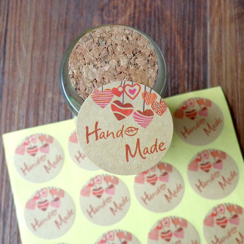 102pcs Kraft Hand Made With Heart Kraft Seal Sticker Gift Stickers DIY Creative Stationery Sticker Lable Dia.3.5cm