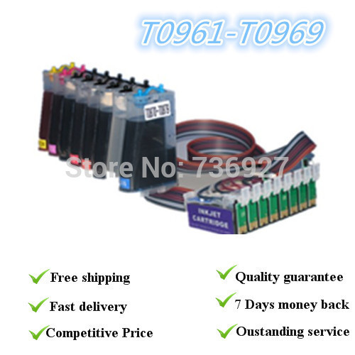Full  ink continous ink  supply system for EPSON T0961 -T0969 for epson 2880,with permanent chips 10pcs for epson dx5 uv printer ink damper for epson stylus proll 4000 4800 7400 7800 9800 9400 9450 flat printer uv ink damper