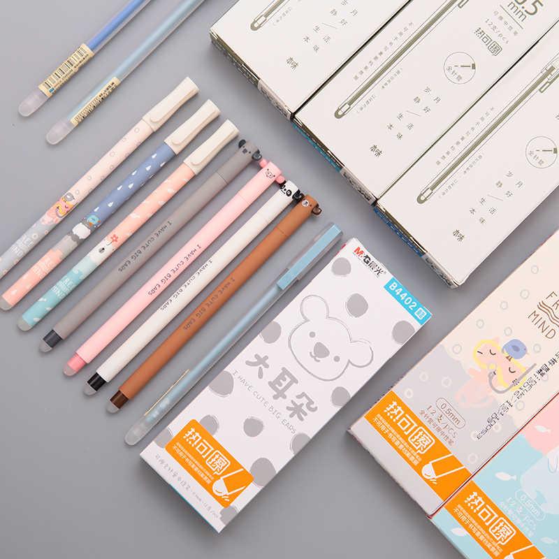 M & G 12 יח'\חבילה Kawaii חמוד מחיק עט 0.5mm עטים מחיקים עם מחק ג 'ל דיו עט כותב מוחק מילוי עבור בית ספר שחור כחול