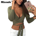 Missufe 2017 Ladies Crop Tops Deep V Neck Women Bandage Tee Shirts 2017 Spring Summer Short Criss Cross Sexy Blusas
