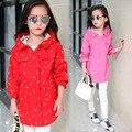 Meninas Longo Casaco Cardigan Com Capuz Jaqueta Outerwear Do Vintage Fantasia Impressão Blusão Crianças Uniforme Escolar Roupas Vetement Fille
