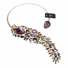 BK Multicolor Fashion Jewelry Chain White Crystal Acrylic Charm Statement Pendant Bib Necklace