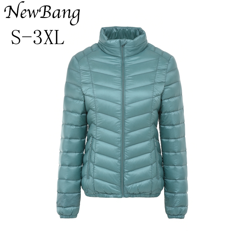 NewBang Brand Womens   Down     Coat   Feather Clothes Stand Collar Regular Portable Ultra Light   Down   Jacket Women With Carry Bag