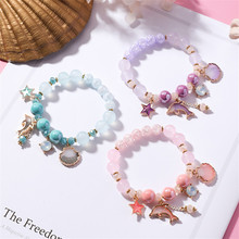 Fashion Ocean Holiday Wind Dolphin Shell Bracelet Pink Crystal Pop-up Jewelry Female Gift