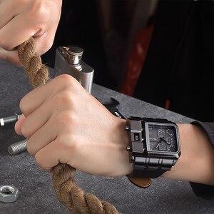 Image 3 - OULM Brand Original Unique Design Square Men Wristwatch Wide Big Dial Casual Leather Strap Quartz Watch Male Sport Watches