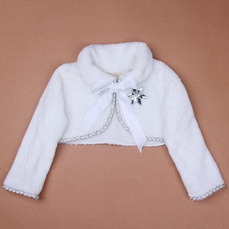 2016 New Kids AutumnWinter Elsa Long Sleeve Little Girl Shawl Children White Plush Princess Warm Coat