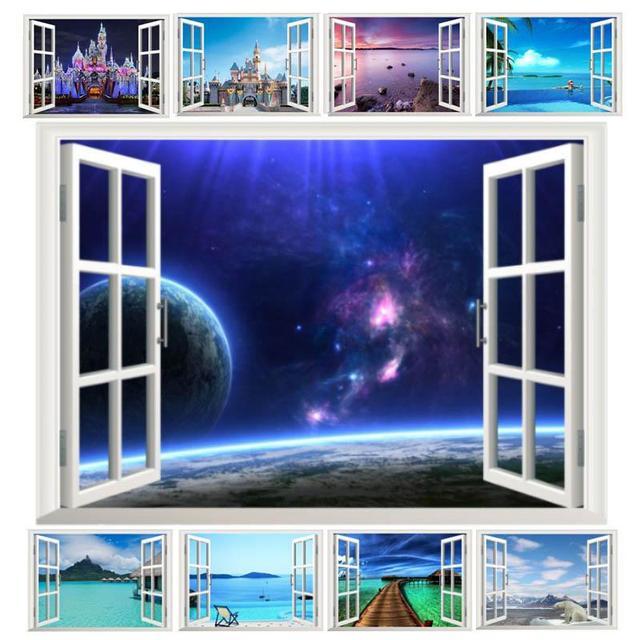 Fantastique 3D fenêtre espace paysage château mer Stickers muraux pour décorations pour la maison salon chambre Festival décalcomanies Mural Arts