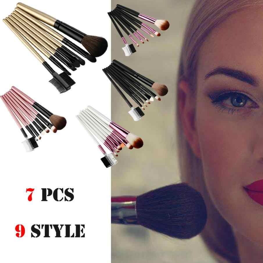 ISHOWTIENDA 7Pcs Makeup Brush Set Professional Eyebrow Eyeshdow Lip Foundation Blush Concealer Contour Makeup Brushes #5L