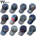 Fashion Cotton Jean Caps Women Rhinestone Baseball Cap JEAN Summer Hat Jean Snapback Caps Denim Berets Caps Wholesale!YY0500