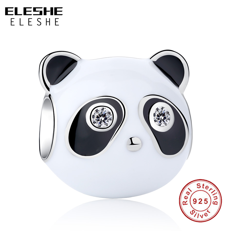 ELESHE 2019 Authentic 925 Sterling Silver Bead Black Enamel Clear CZ Panda Charm Fit  Bracelets Bangles Women DIY Jewelry