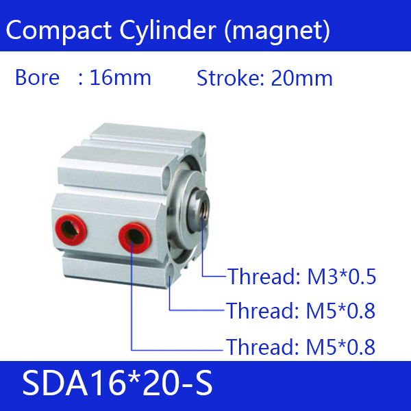 SDA16*20-S Free shipping 16mm Bore 20mm Stroke Compact Air Cylinders SDA16X20-S Dual Action Air Pneumatic Cylinder, magnet sda16 70 s free shipping 16mm bore 70mm stroke compact air cylinders sda16x70 s dual action air pneumatic cylinder magnet