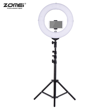 "ZOMEI 14"" 2700-5500K Bi-color Dimmable LED Ring Video Light Fill Light CRI 90+ Studio Photography Lighting with Phone Holder"