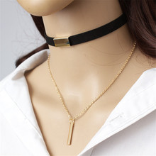 Women Punk Gold Silver Velvet Chain Necklace Fashion Black Faux Leather Choker Necklaces Girls Party Jewelry Gift Trinket Collar artificial leather velvet cucurbit choker necklace