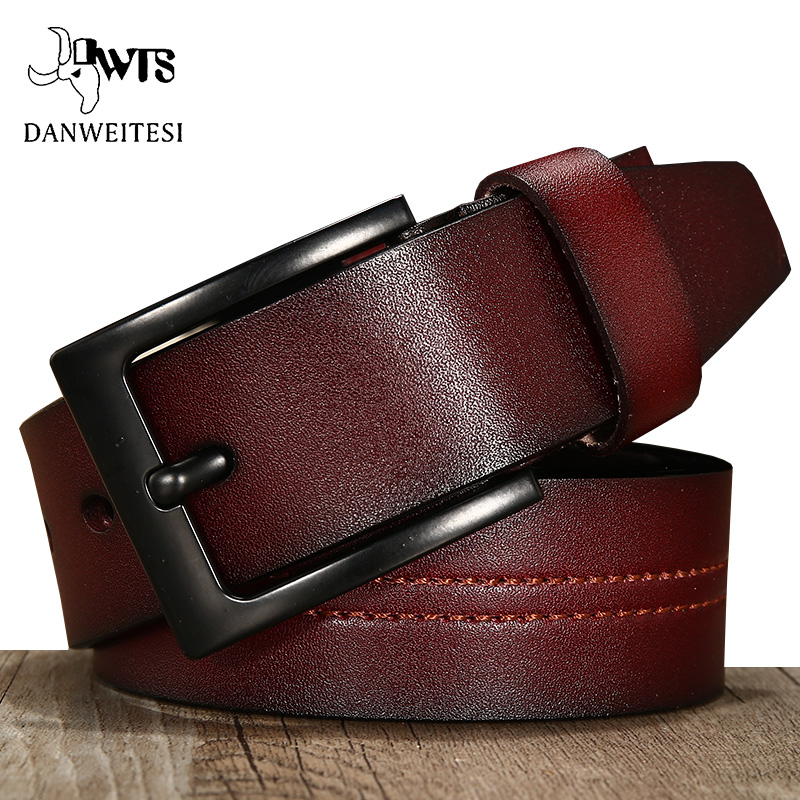 [DWTS]  belt   male cowhide genuine leather   belt   men vintage high quality   belts   for men cowboy jeans brown black Pin Buckle