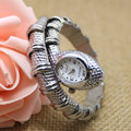New Fashionable women Ladies Snake Shaped Bracelet Bangle Ornaments Quartz Movement Wrist Watch - Silver Relogio Feminino