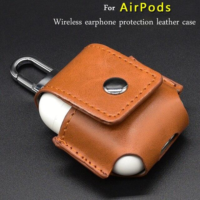 Leder Kopfhörer Abdeckung Für Airpods Fall drahtlose kopfhörer schutz Abdeckung Stoßfest Schutzhülle Kopfhörer Zubehör