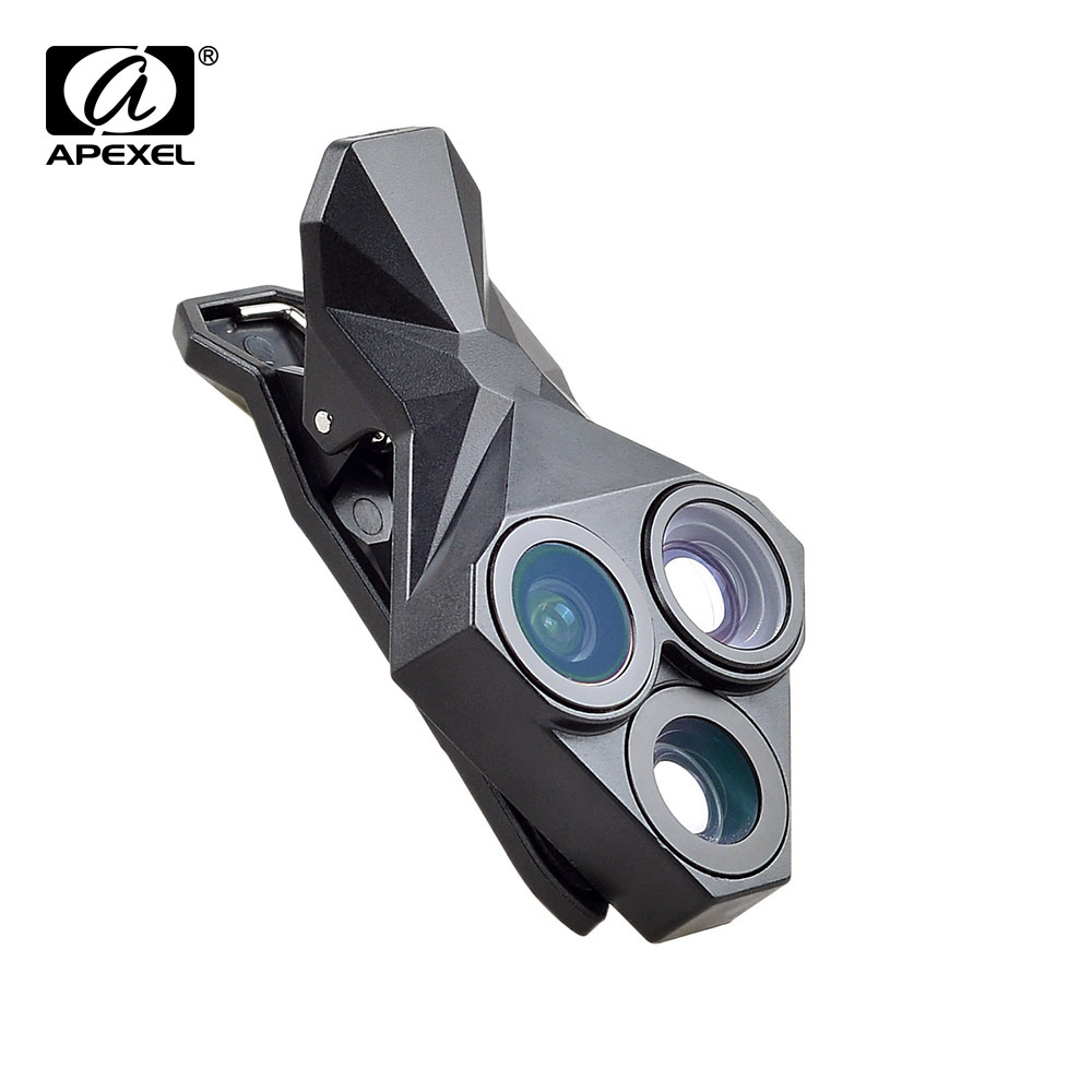 APEXEL arrival Camera Lens Kit 3 in 1 Fisheye Lens Wide Angle Macro mobile phone Lens Kit for iPhone Android Xiaomi APL-YT3