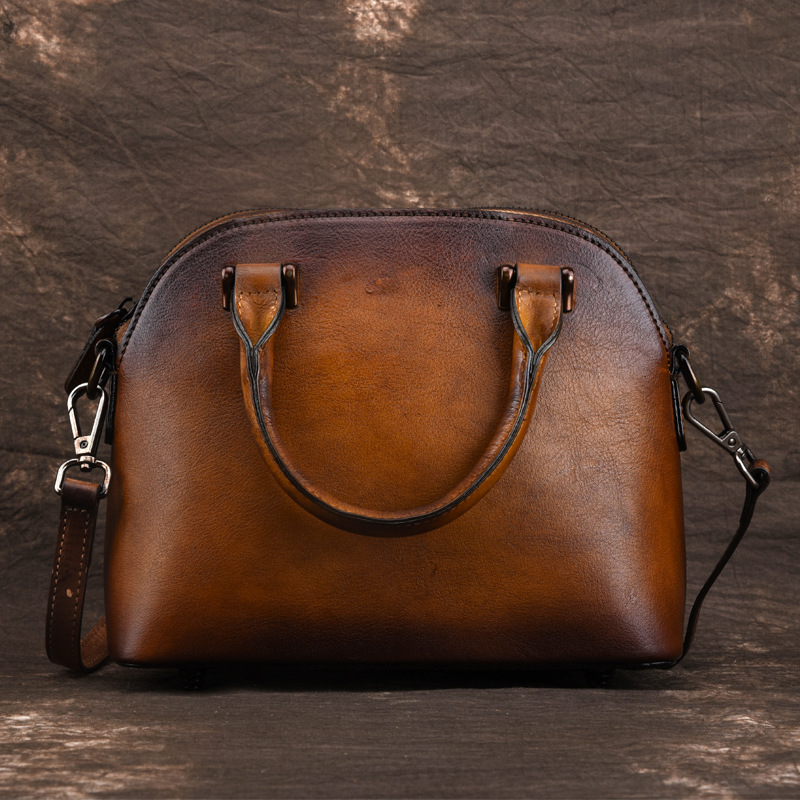 Genuine Leather Top Handle Women Bag Brush Color Retro Handbag Leisure Simple Female Shoulder Tote Cross