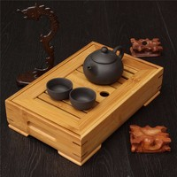 1PC Rectangular Tea Tray Drainage Storage Water For Kung FU Tea Set Natural Wooden Tea Tray Chinese Traditional Bamboo Tea Table