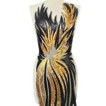 Сексуальное боди, черный, желтый, 30x130 см, стразы с блестками, сделай сам, дизайнерская женская одежда, нашивки, пришитые для костюма, одежда, Аппликации, ремесло