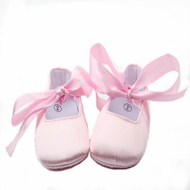 Wholesale Baby Shoes Satin Pink Sweet Princess Shoes Baby Girl Ballet Shoes  Ribbons Infant Prewalker 0299579ff44d