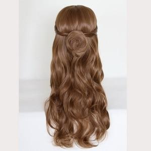 Image 3 - Perruque synthétique style princesse et la bête, coiffure synthétique longue ondulée brune, perruque princesse et la bête, déguisement pour jeu de rôle à la fête dhalloween