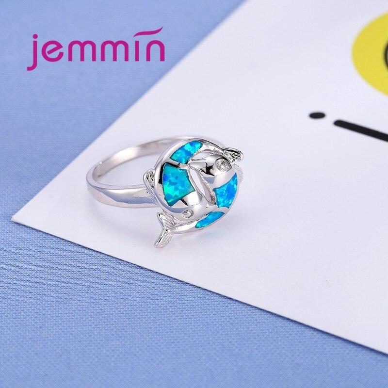 Okean Mavi Opal Üzük ilə Forma Verilmiş İki Balıq 925 Sterling - Gözəl zərgərlik - Fotoqrafiya 5