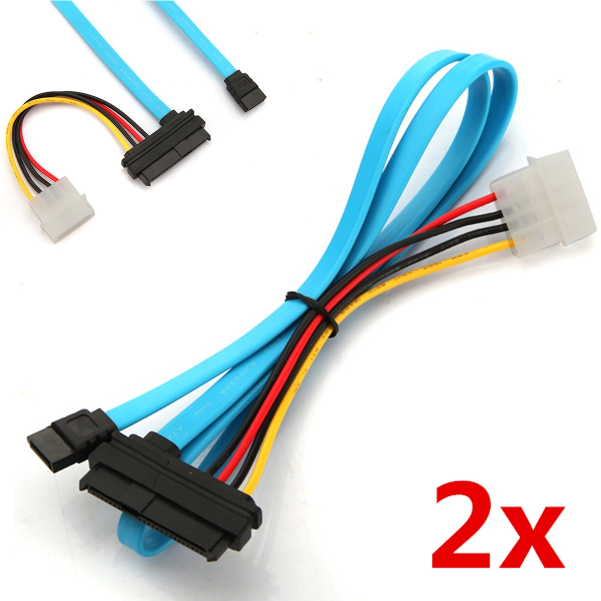 2 pcs 7 Pin SATA Serial Female ATA to SAS 29 Pin Connector Cable & 4 Pin Male Power Cable Adapter Converter for Hard Disk Drive