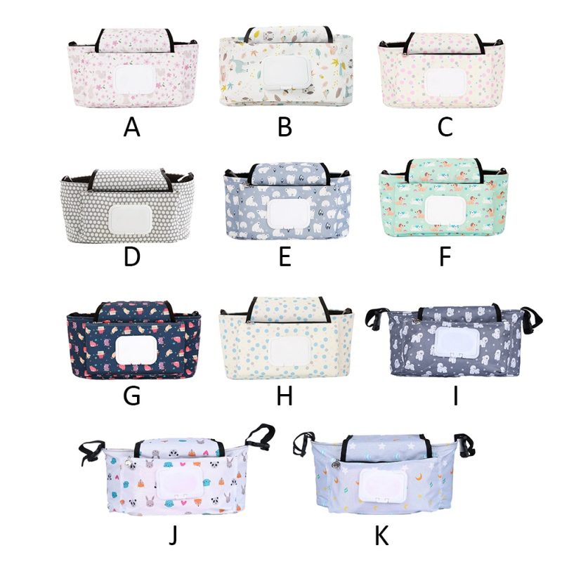 Baby Carriage Hanging Storage Bag Baby Stroller Organizer Folding Mummy Diaper Bag Hook Cartoon Flower Elephant Travel Nappy Bag