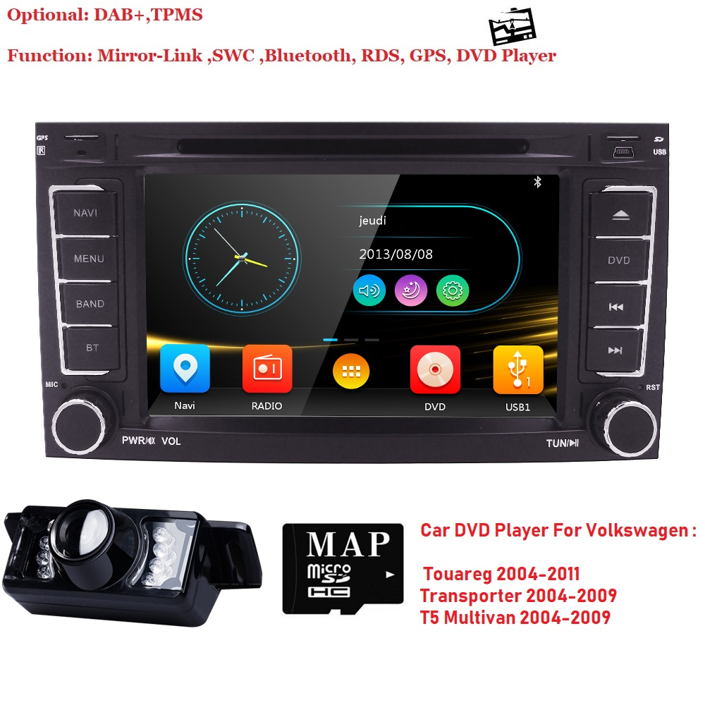 7 inch 2 din Radio Car DVD player for Volkswag VW Touareg 2004 2011 Transporter T5 Multivan GPS Navigation audio 3G BT SWC dab+