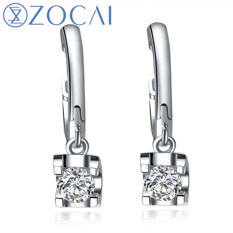 ZOCAI NATURAL 0.36 CT CERTIFIED H/SI DIAMOND DROP DROP EARRINGS JEWELRY EARRING LEVERBACK ROUND CUT 18K WHITE GOLD E00910 yoursfs leverback earrings 18k white rose gold plated fashion jewelry women square crystal dangle drop earrings