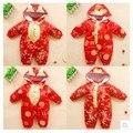 Estilo chino de los mamelucos 2015 infante juego de la espiga ropa de china invierno del bebé del mameluco de la ropa de oro envío gratis
