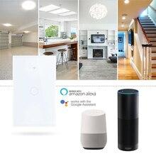 US/EU Стандартный сенсорный выключатель дистанционный переключатель освещения Панель настенный выключатель 1/2/3 приложение Wi-Fi для управления переключатель работы с Alexa Google Home