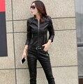 Mulheres casaco jaqueta de couro da forma das mulheres curto motocicleta roupas de couro feminino outerwear chaqueta de las mujeres Z930